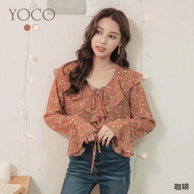 東京著衣-YOCO 韓國同款小碎花荷葉領雪紡上衣