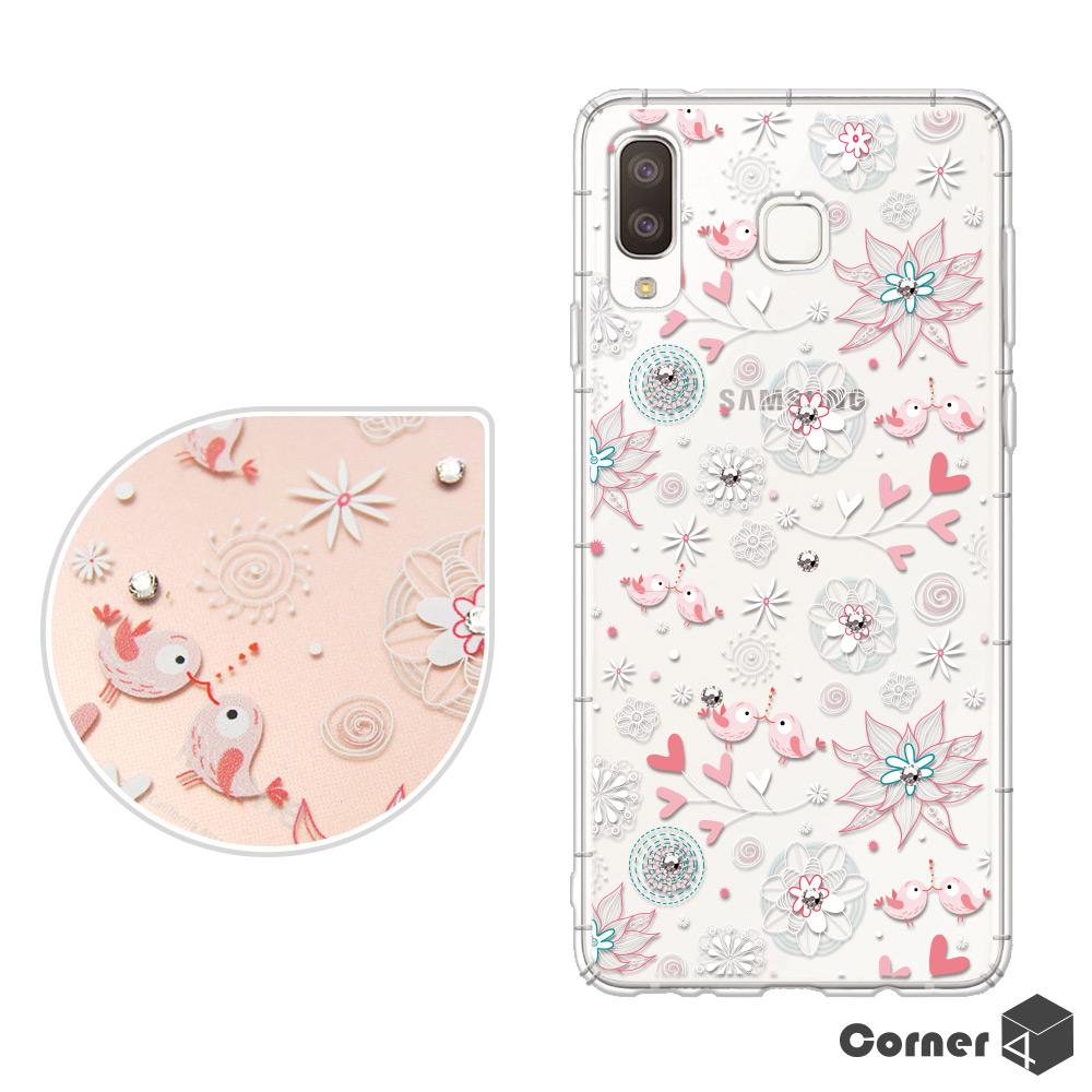 Corner4 Samsung Galaxy A8 Star 奧地利彩鑽防摔手機殼-知更鳥