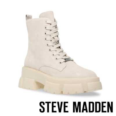 STEVE MADDEN-TANKER ROCK BOTTON 經典綁帶字母厚底中筒靴-米白色