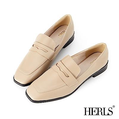 HERLS 知性內斂 內真皮便士方頭樂福鞋-米色