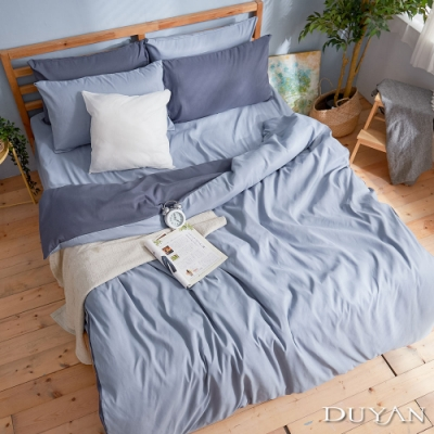 DUYAN竹漾-芬蘭撞色設計-雙人四件式舖棉兩用被床包組-雙藍被套 x 愛麗絲藍床包