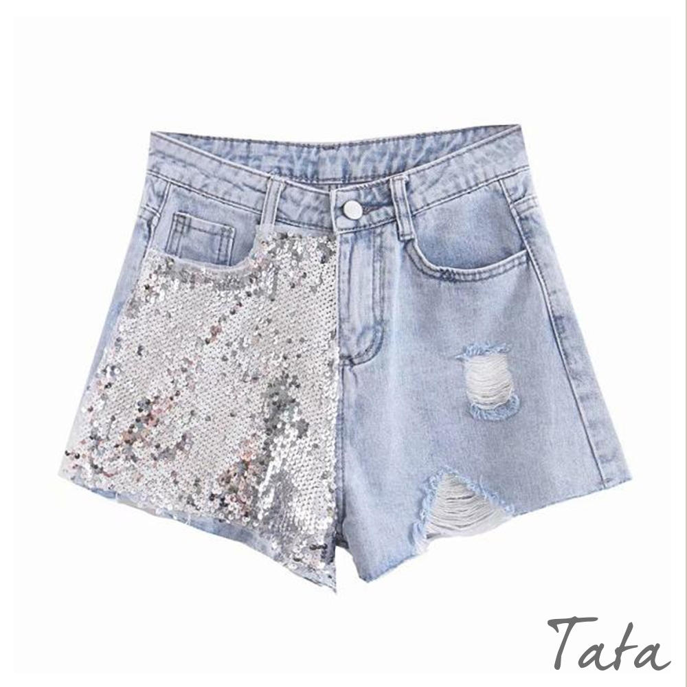 亮片蕾絲拼接牛仔短褲 TATA-(S/M)