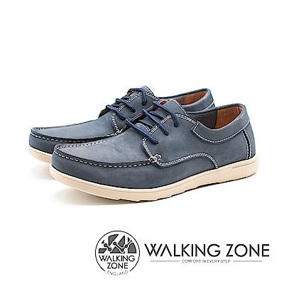 WALKING ZONE 綁帶式 透氣皮革 男鞋-藍(另有棕)