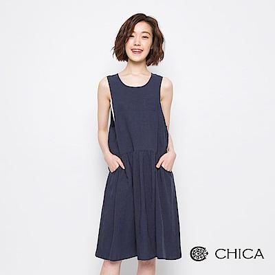 CHICA 初夏漫遊無印風背心洋裝(2色)
