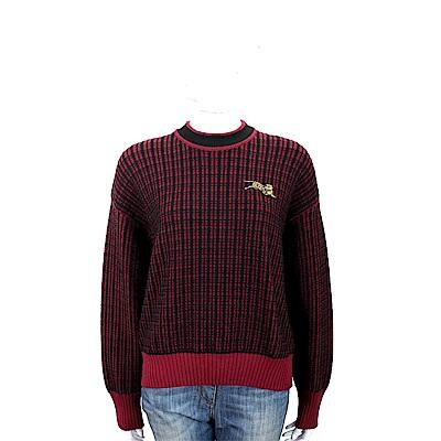 KENZO Jumping Tiger 補丁老虎飾黑紅雙色針織羊毛衫