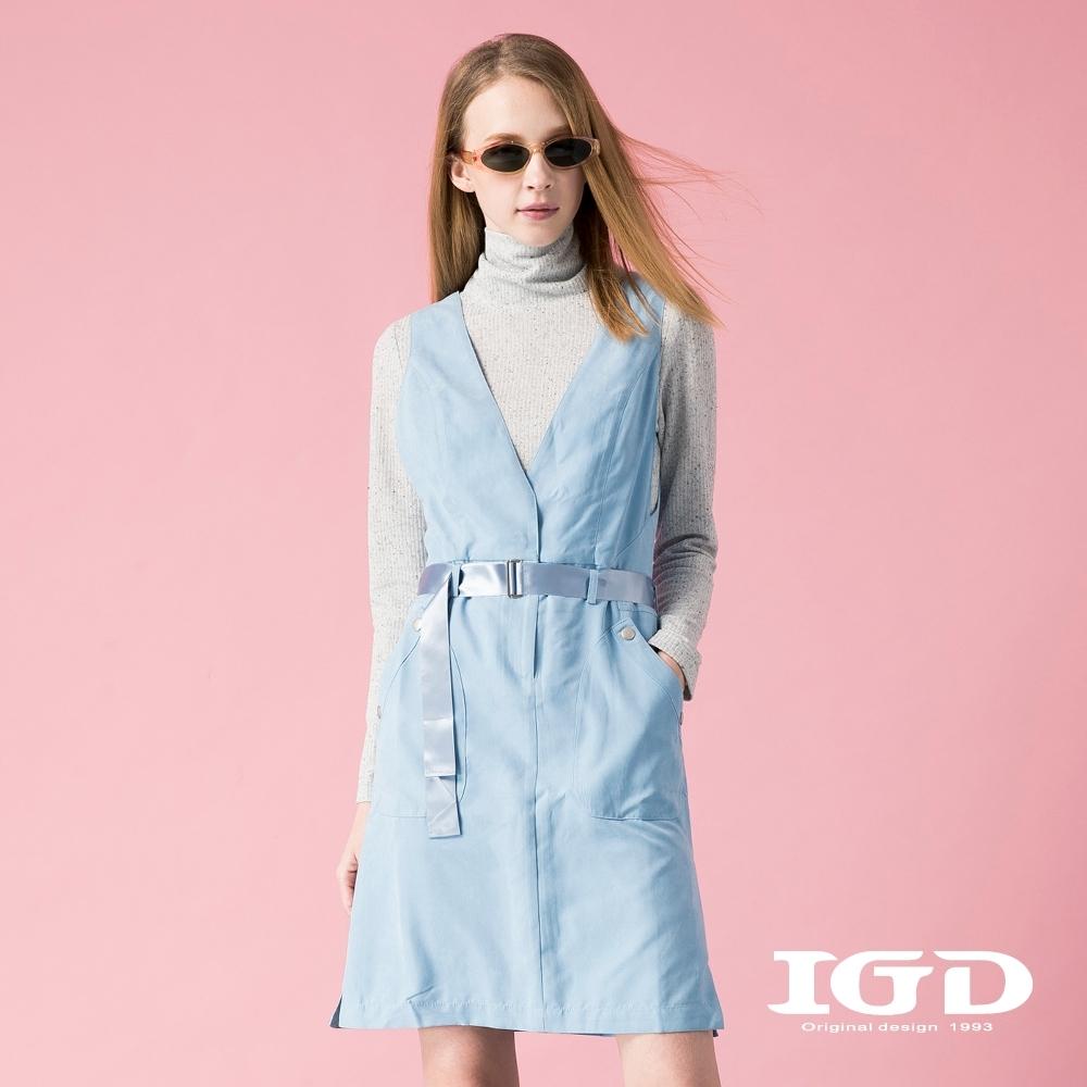 【IGD 英格麗】質感細絨腰帶造型背心洋裝