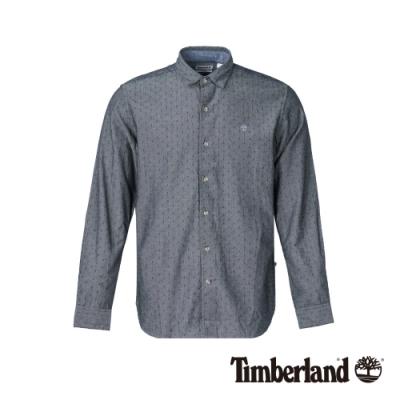 Timberland 男款深單寧藍修身彈性長袖襯衫 A1NMJ