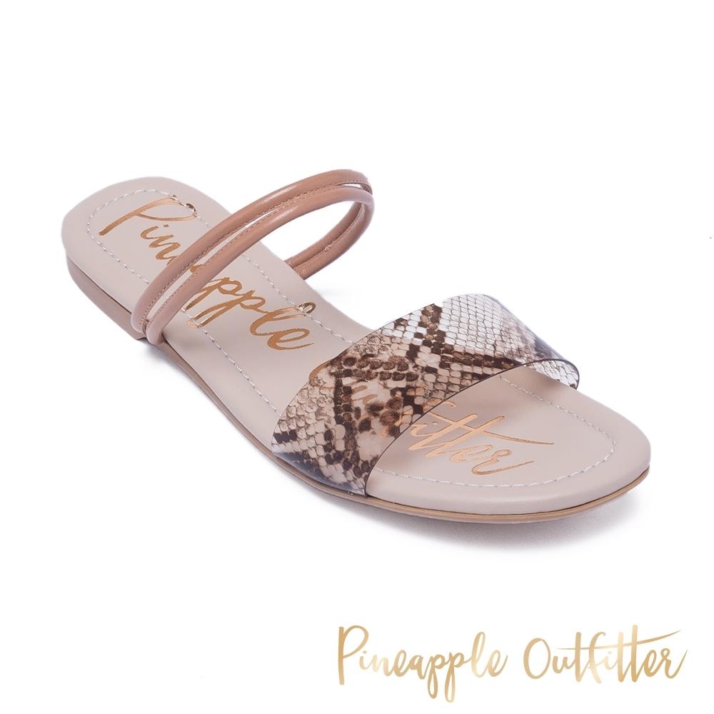 Pineapple Outfitter 休閒時尚款一字拖涼鞋-蛇皮咖