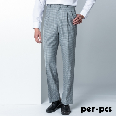 per-pcs 品味時尚打摺格紋西裝褲_經典灰白(89235)