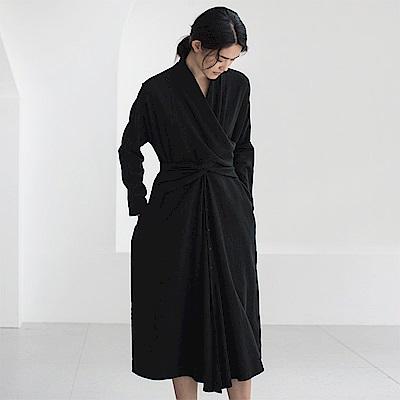 旅途原品_知秋_原創設計純棉立裁兩穿黑色連衣裙外套-黑色
