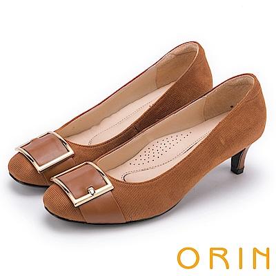 ORIN 魅力輕時尚 皮帶扣環條紋中跟鞋-棕色