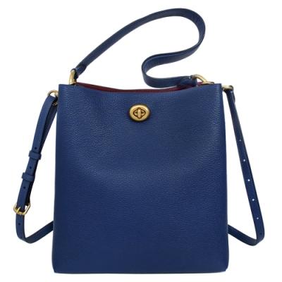 COACH礦藍色荔枝紋全皮旋釦雙層肩背/斜背水桶包
