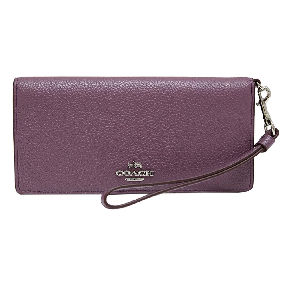 COACH 立體馬車雙折扣式皮革手拿長夾-茄紫色(展示品B)