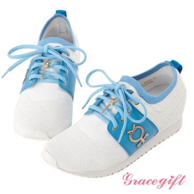 Grace gift-美少女戰士變身器針織休閒鞋 淺藍