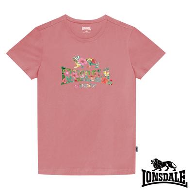 【LONSDALE 英國小獅】夏日扶桑花LOGO短袖T恤-粉色LT002