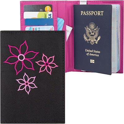 TRAVELON Bouquet繡花防護證件護照夾(黑)