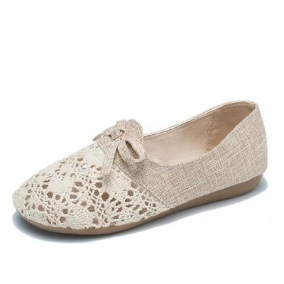 KEITH-WILL時尚鞋館 明星款輕甜休閒簍空麻布平底鞋-杏
