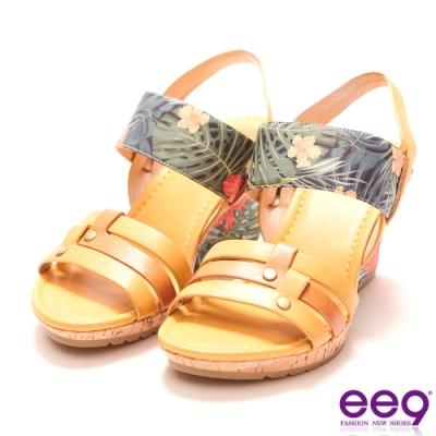 ee9 繽紛夏日質感簡約露趾楔型跟涼鞋  黃色-562372  80