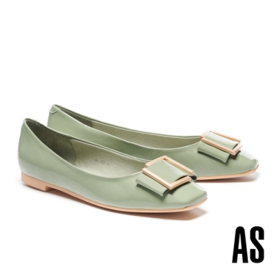 低跟鞋 AS 時尚金屬帶釦全真皮方頭低跟鞋-綠