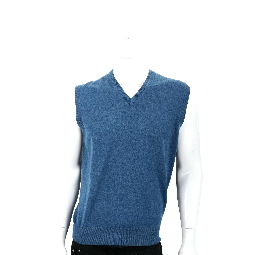 Andre Maurice 喀什米爾孔雀藍V領羅紋細節羊毛背心(男款) @ Y!購物