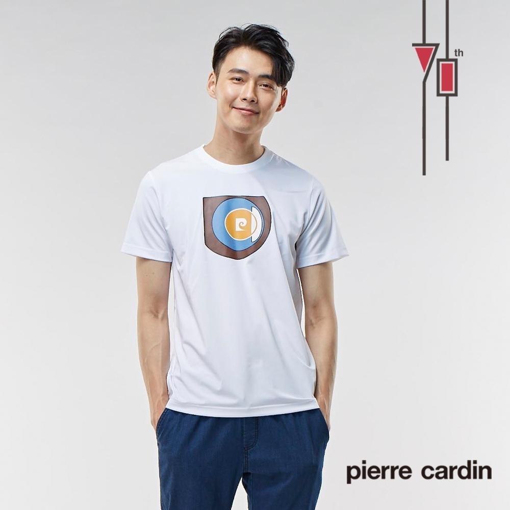 Pierre Cardin皮爾卡登 70週年 男裝圓領衫短袖圓T上衣-白色 黑色(9207203-90.99)