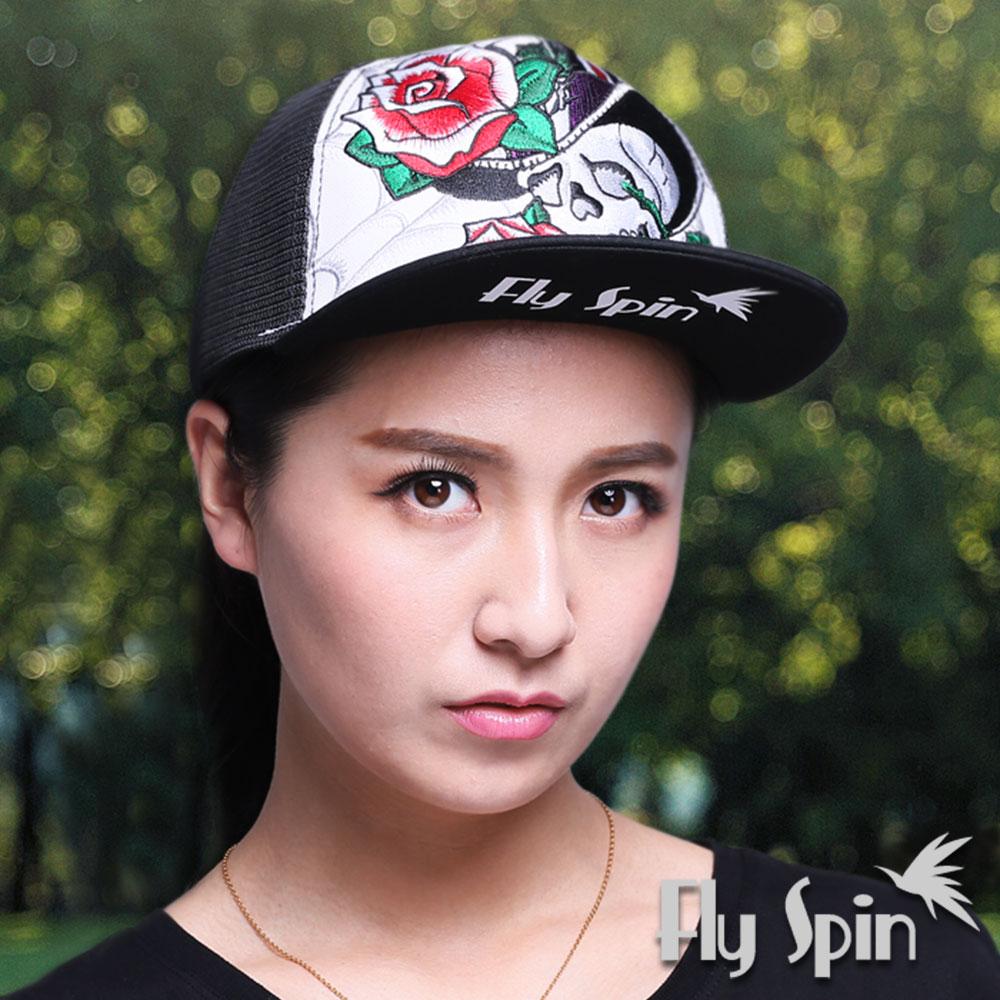FLYSPIN 潮流行骷髏玫瑰刺繡燙鑽平頂街頭網帽