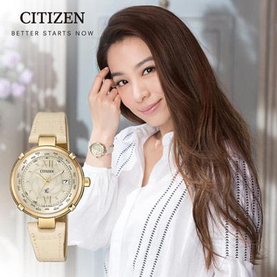 CITIZEN星辰xC系列愛戀玫瑰光動能電波鈦金屬腕錶(EC1042-00P)