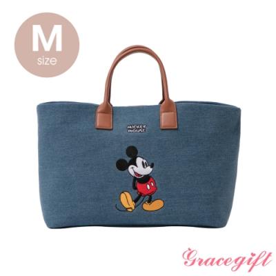 Disney collection by grace gift–唐葳設計迪士尼米奇2WAY帆布包M 牛仔