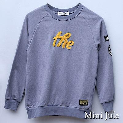 Mini Jule 大童 上衣 字母毛布造型刺繡布章長袖上衣(灰)