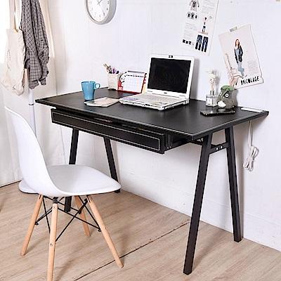 凱堡 馬鞍抽屜耐重方腳工作桌附插座 電腦桌120X60X75cm