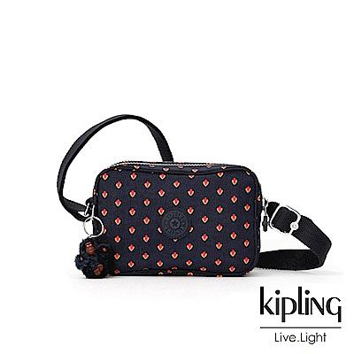 Kipling 紅黃幾何圖騰側背方包-DEE