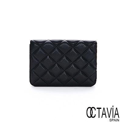 OCTAVIA8真皮 - 格子泡芙 菱格車線單折羊皮護照短夾 - 揉柔黑