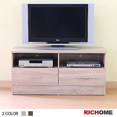 RICHOME 爵士雙抽4呎電視櫃-2色-120*40*56cm