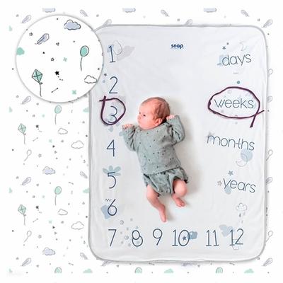 【波蘭Snap The Moment】寶寶寫真毯-Minty White(抗菌銀離子 雙面可用 拍照毯 嬰兒毯)