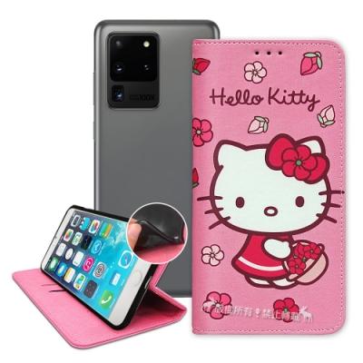 三麗鷗授權 Hello Kitty 三星 Samsung Galaxy S20 Ultra 櫻花吊繩款彩繪側掀皮套