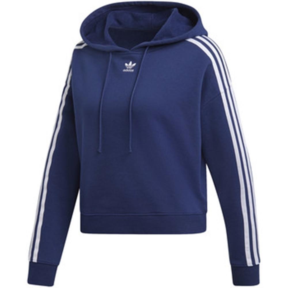 ADIDAS CROPPED HOODIE 女 短版連帽T恤 藍-DX2160