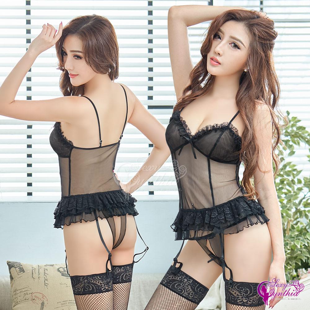 Sexy Cynthia馬甲 魅惑黑天鵝網紗馬甲吊襪帶四件組-黑F