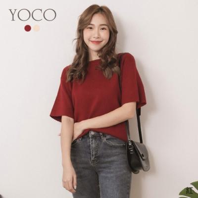 東京著衣-YOCO 甜蜜氛圍圓領五分寬袖針織上衣(共二色)
