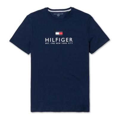 TOMMY 經典熱銷印刷大LOGO文字短袖T恤(男)-深藍色