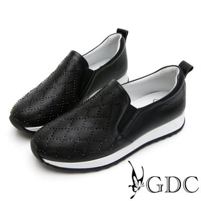 GDC-真皮水鑽超舒適軟底菱格厚底休閒鞋-黑色