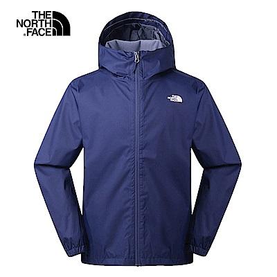 The North Face北面男款深藍色防水透氣連帽衝鋒衣 3L88A7L