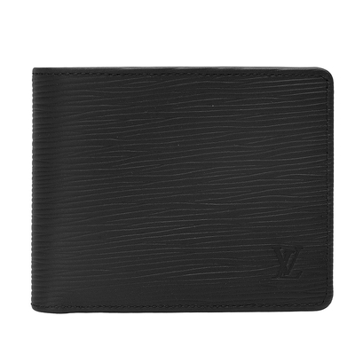 LV M60662 經典EPI水波紋MULTIPLE三卡交叉短夾(黑)