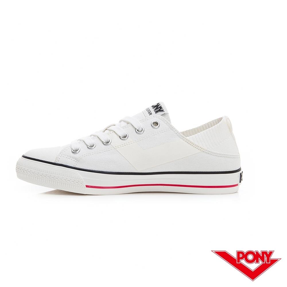 【PONY】Shooter懶人後跟低筒帆布鞋 懶人鞋 小白鞋 滑板鞋-女-白
