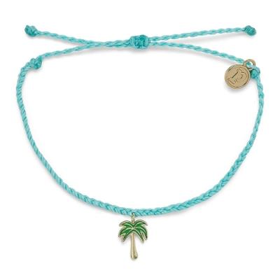 Pura Vida 美國手工 PARADISE PALM 金色棕櫚樹 海洋綠蠟線衝浪手鍊手環