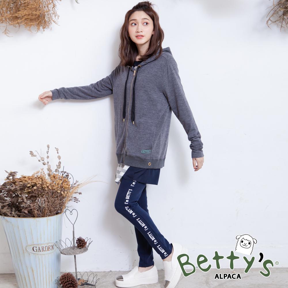betty's貝蒂思 側印英文鬆緊棉褲(深藍)
