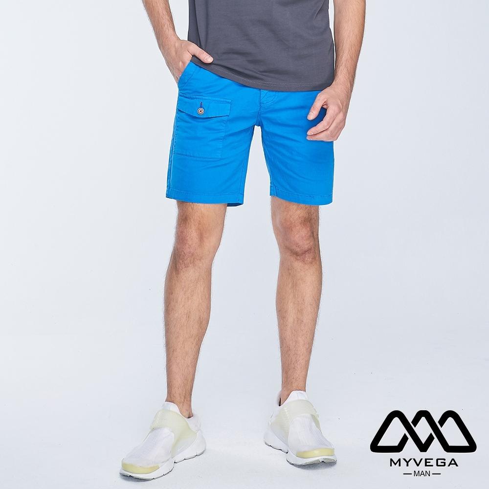 MYVEGA MAN工裝貼袋素色短褲-藍