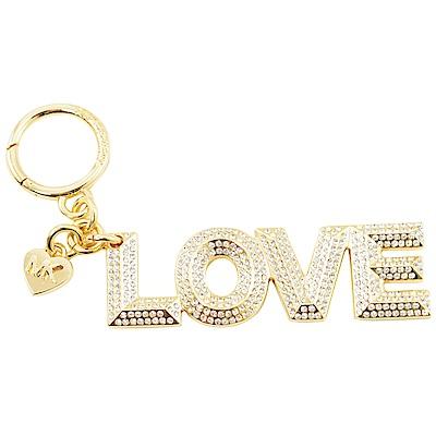 MICHAEL KORS KEY LOVE字樣水晶鑽鑰匙圈(金)
