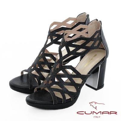 【CUMAR】情迷哈瓦那 - 菱形鏤空線條排鑽高跟涼鞋-黑