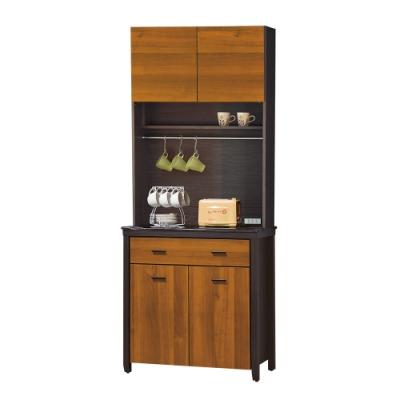 【綠活居】印度 雙色2.7尺雲紋石面餐櫃/收納櫃組合(上+下座)-80.5x46x201cm免組