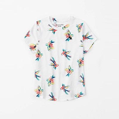 麋鹿 AF A&F 經典電繡小鹿夏日風情短袖T恤(女青年款)-白色